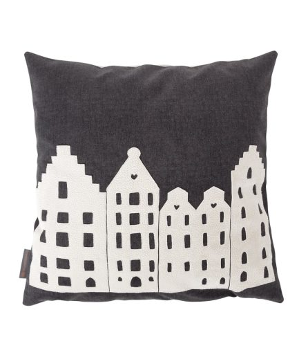 PILLOW – AMSTERDAM – DARK GREY/VANILLA – SOUVENIR / GIFT