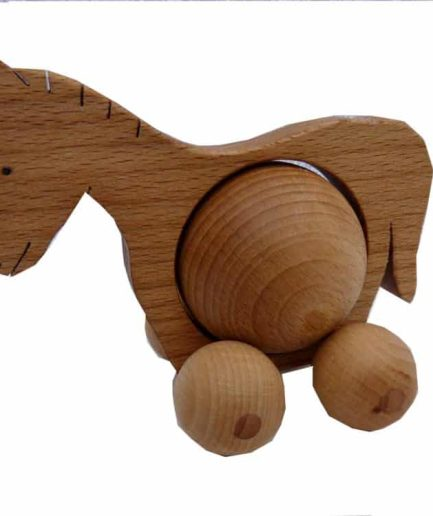WOODEN ROLLING HORSE TOY - KIDS / CHILDREN / TOYS