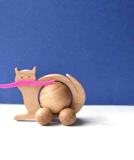 WOODEN ROLLING CAT TOY – BABY / KIDS / CHILDREN / TOYS