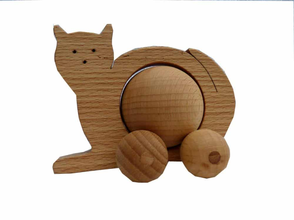 Wooden Toys Product : Wooden rolling cat toy baby kids children toys v