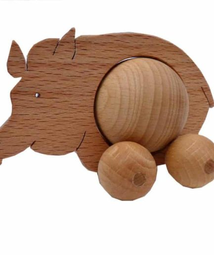 WOODEN ROLLING WILD BOAR TOY - KIDS / CHILDREN / TOYS